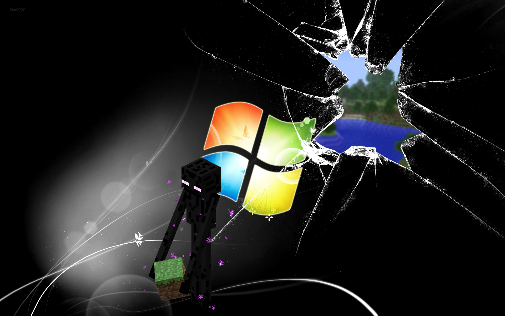 Enderman on broken Windows wallpaper