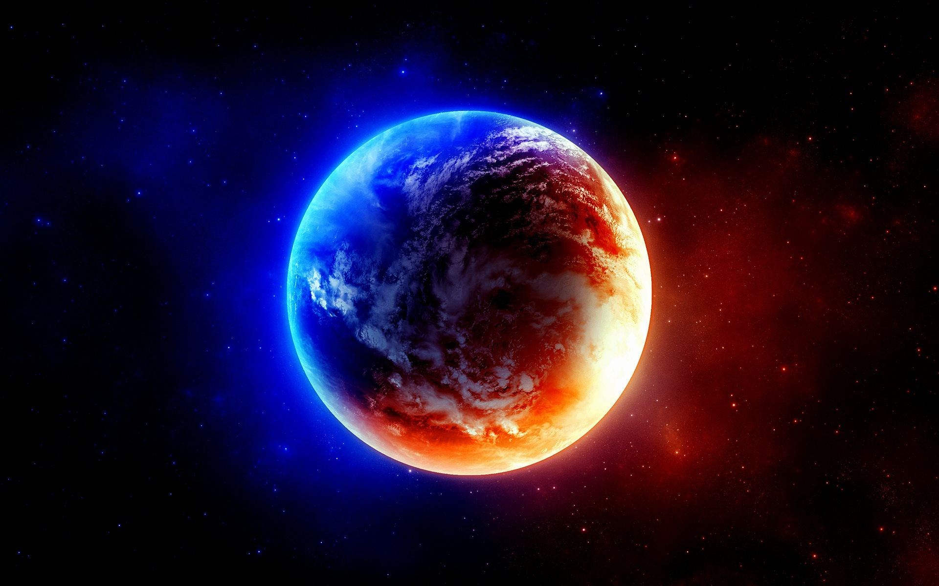 red and blue planet