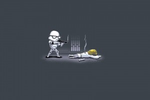 Hipster Stormtrooper shooting Luke wallpaper