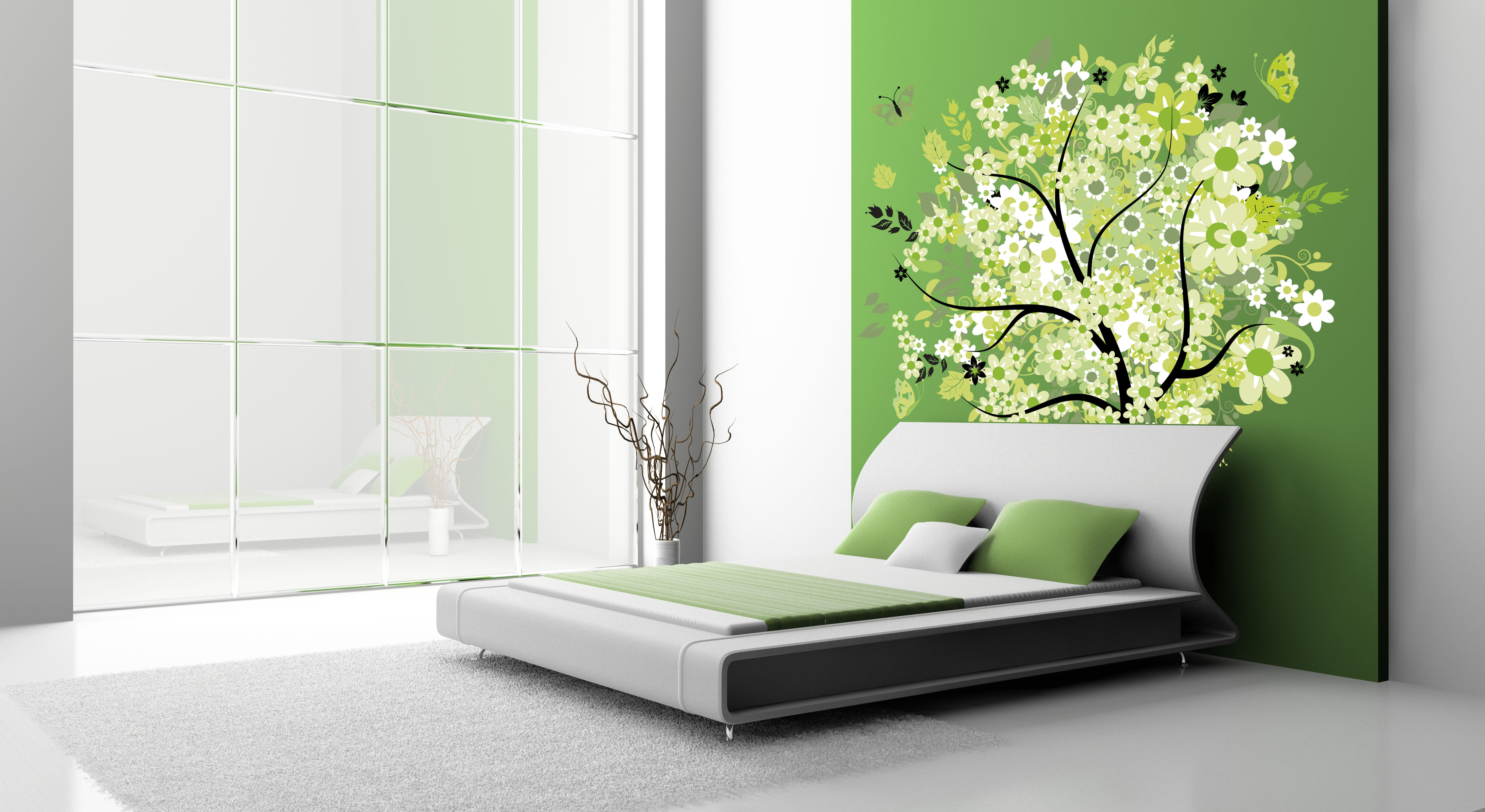 Inspirative-green-tree-wall-decals-in-bedroom