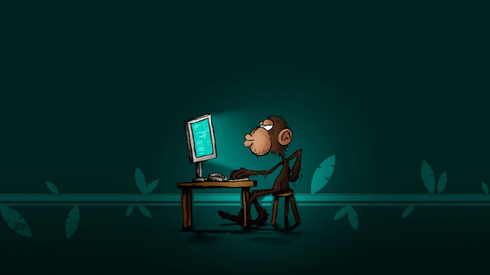 Monkey on the computer wallpaper – HD Wallpapers , HD ...