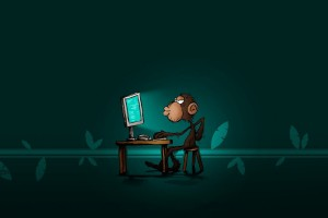 Monkey on the computer wallpaper