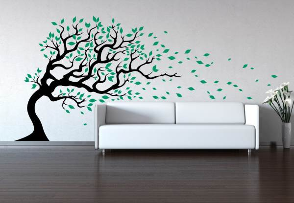 Tree in the wind wall decal