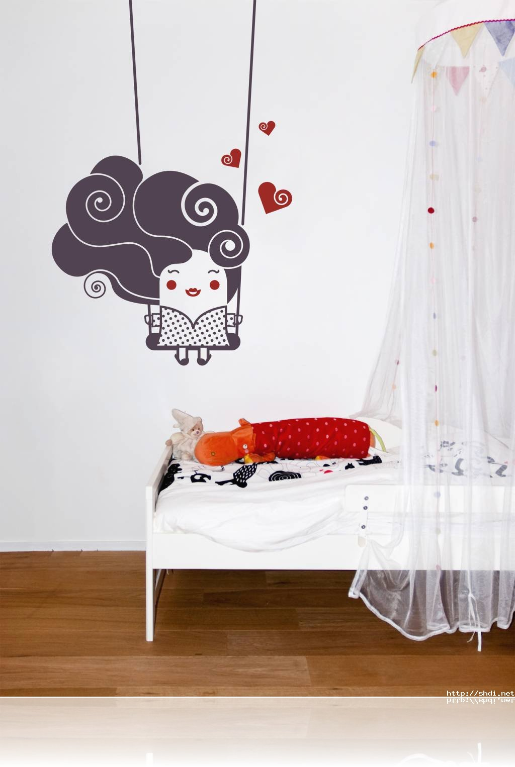minimalist kids bedroom design scheme with idyllic wall decals