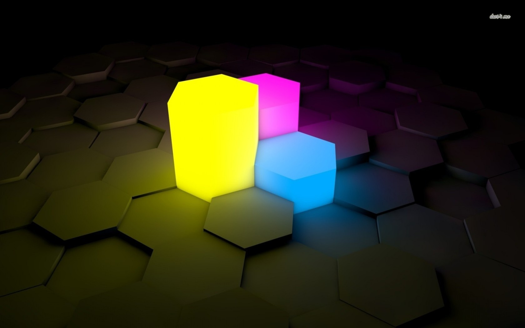 Neon hexagonal prism wallpaper