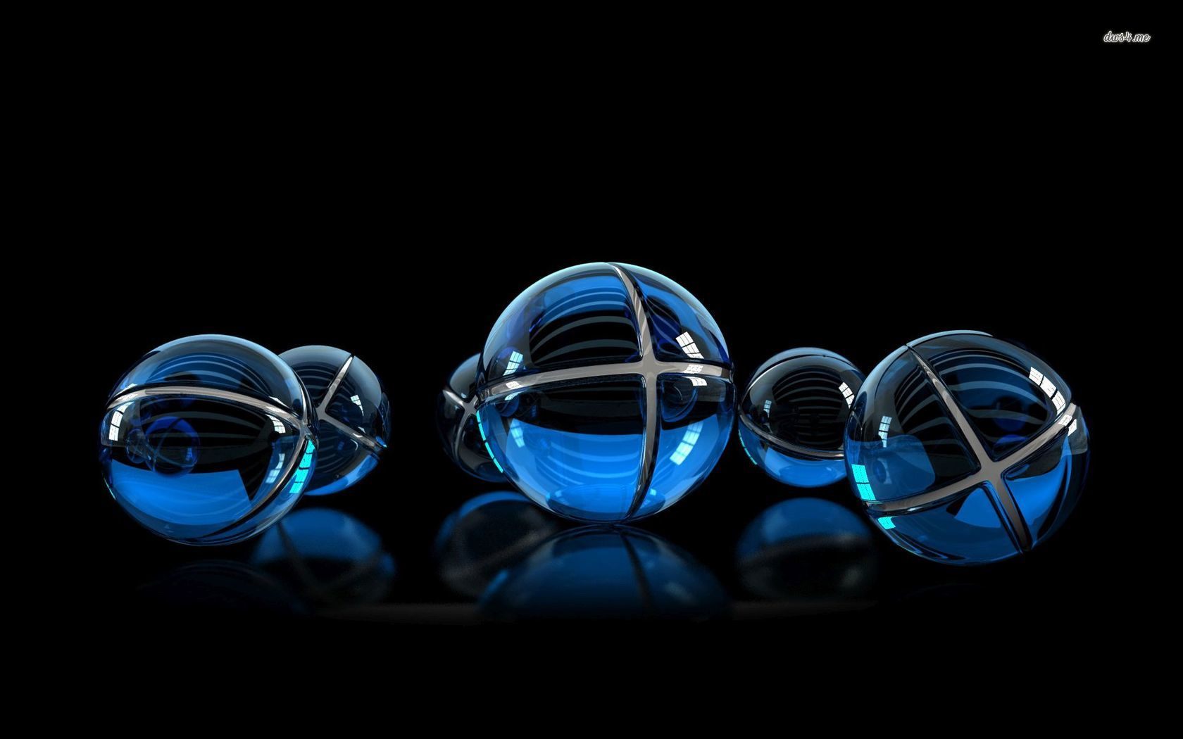 blue light balls 3d wallpaper