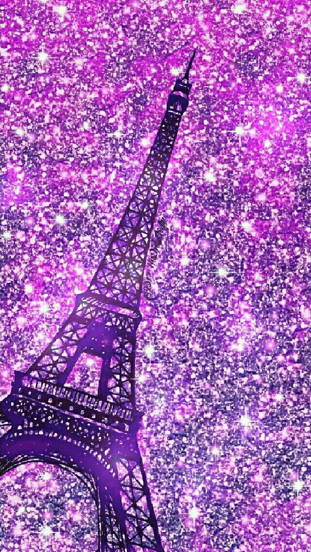 Purple Eiffel Tower iPhone Android glitter wallpaper