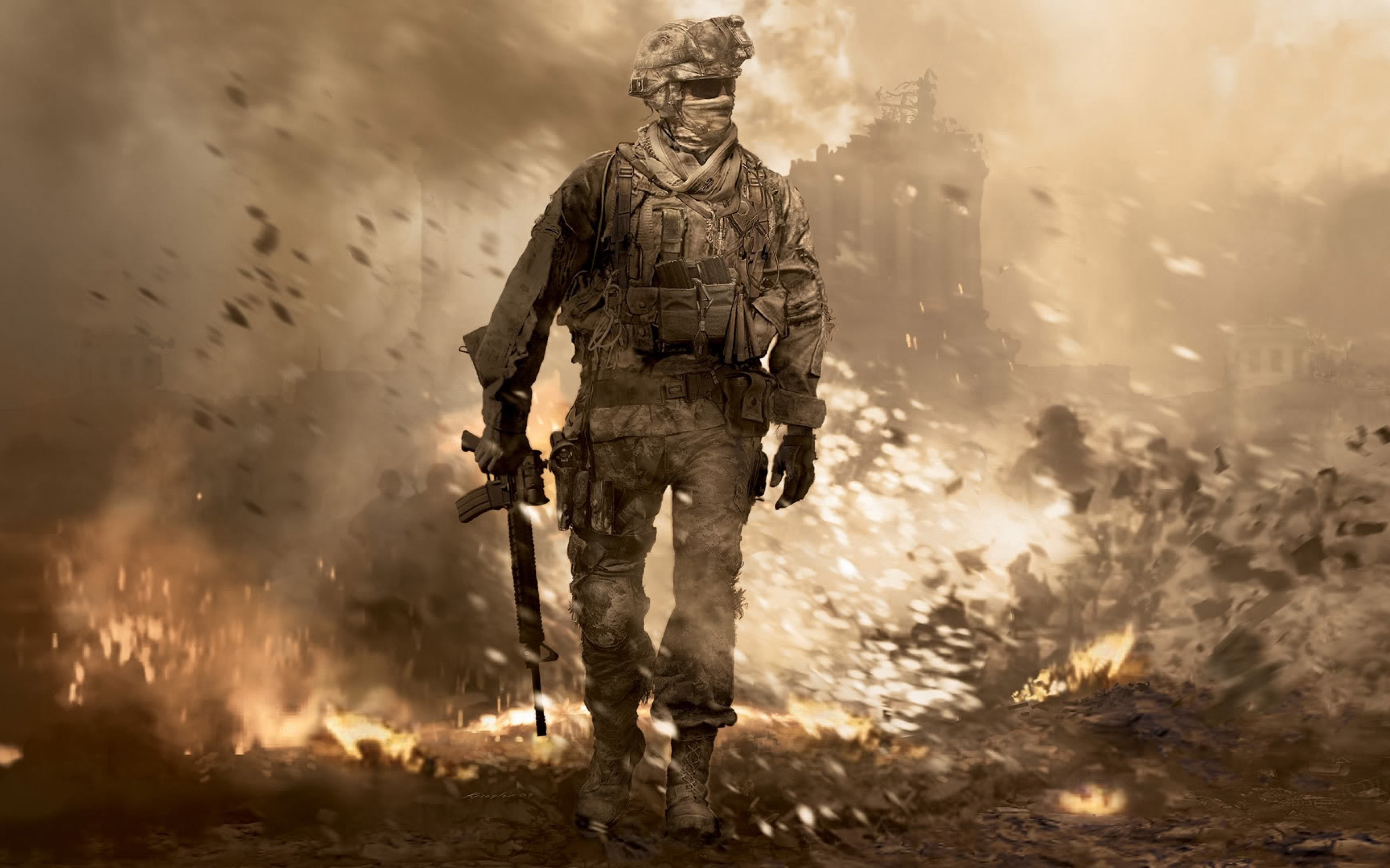 4K HD call of duty soldier gun glasses explosion 3840×2400