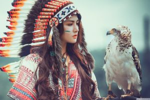 Native American Girl with Eagle HD Wallpaper