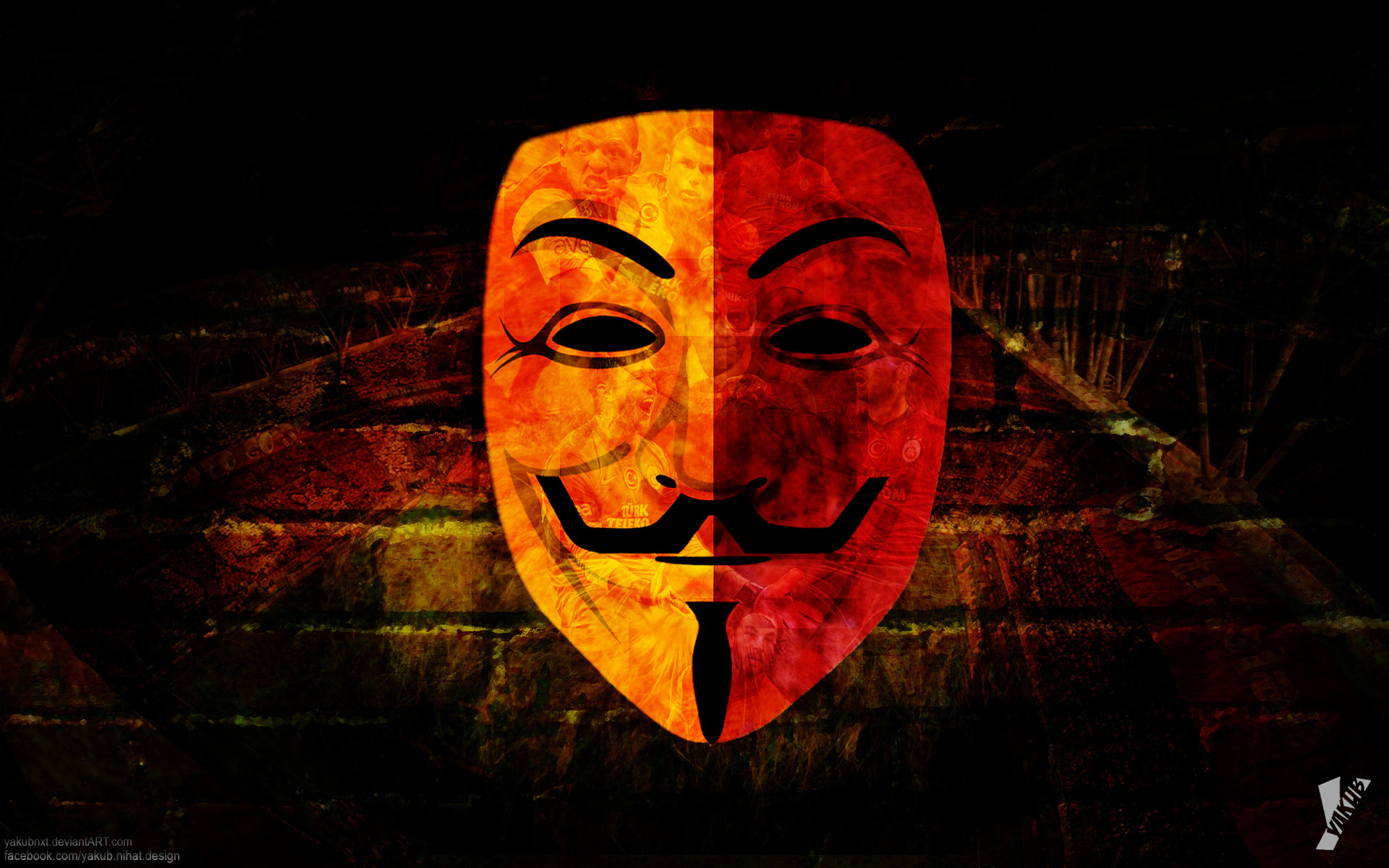 galatasaray anonymous mask sport hd wallpaper and desktop images