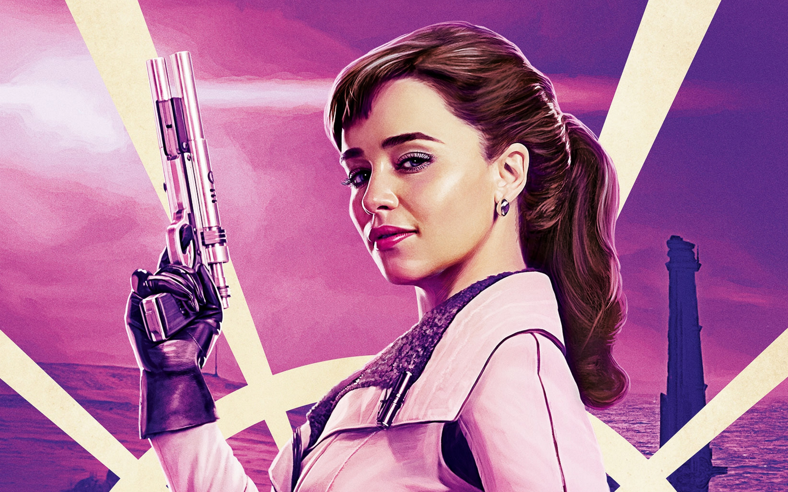 4K Emilia Clarke as Qi'Ra in Solo A Star Wars Story Wallpaper