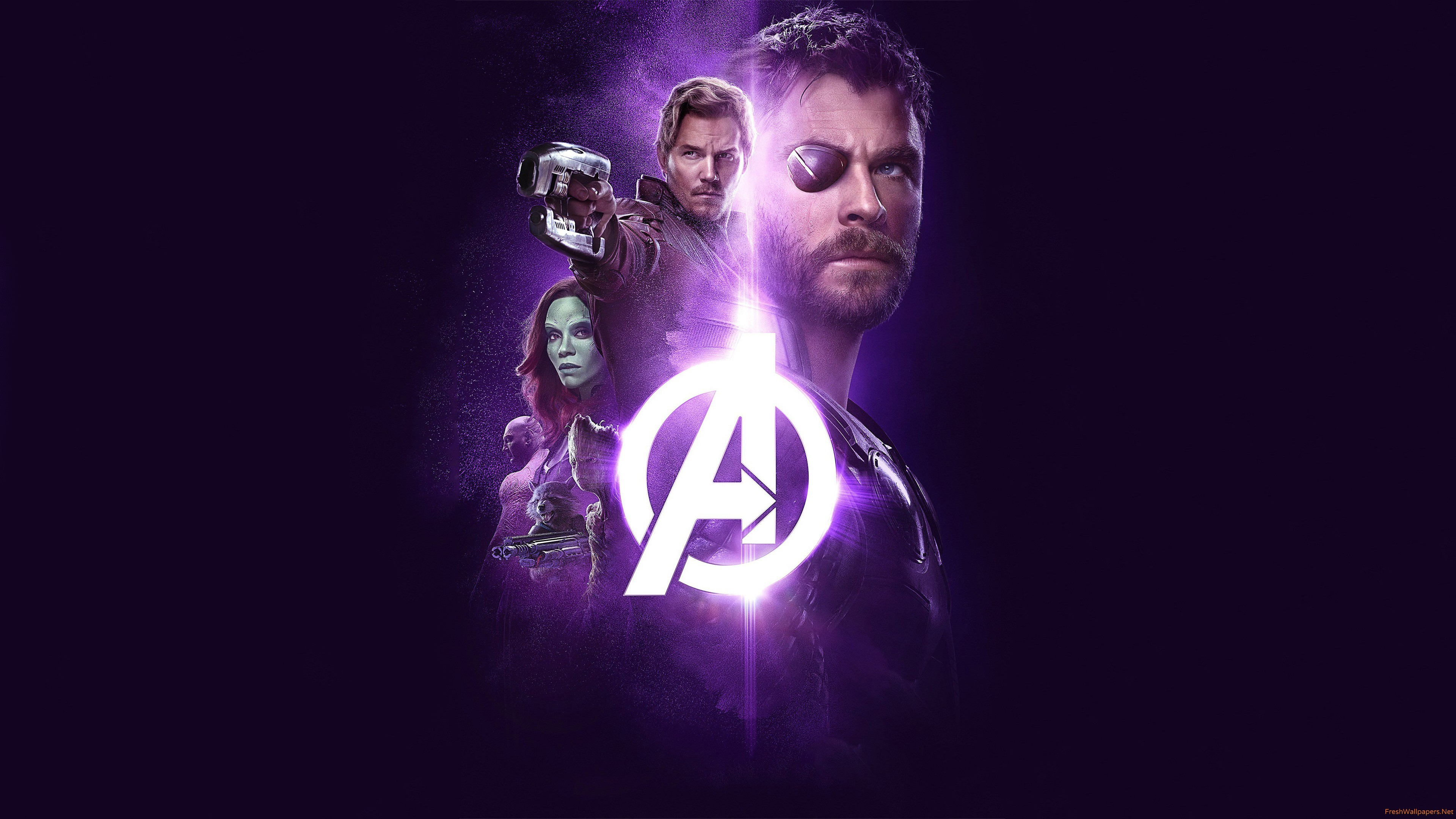 Avengers Infinity War Thor Groot Rocket Star Lord Gamora 4K wallpaper