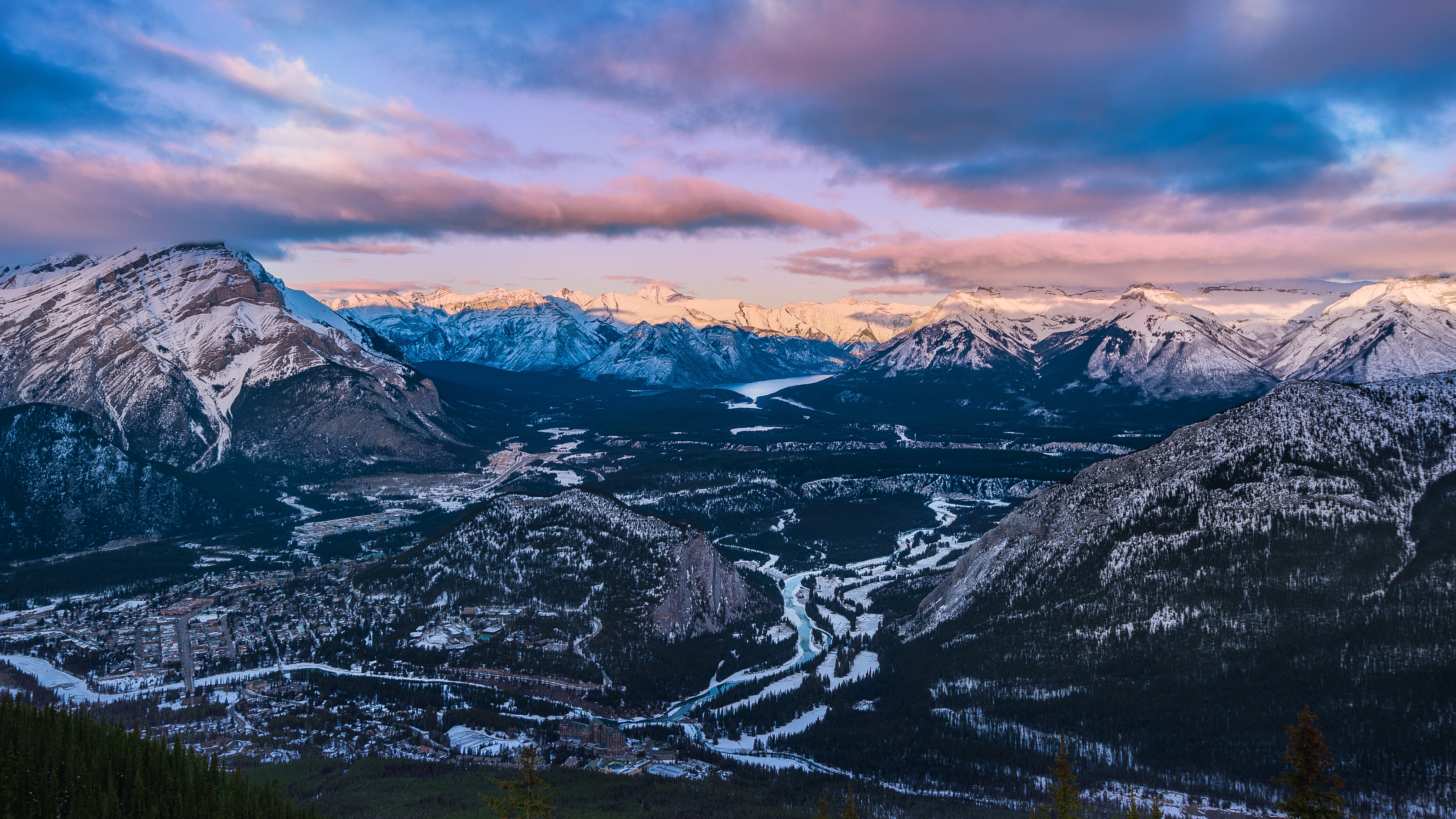 Bow Valley Sulphur Mountain 4K Ultra HD Desktop Wallpaper