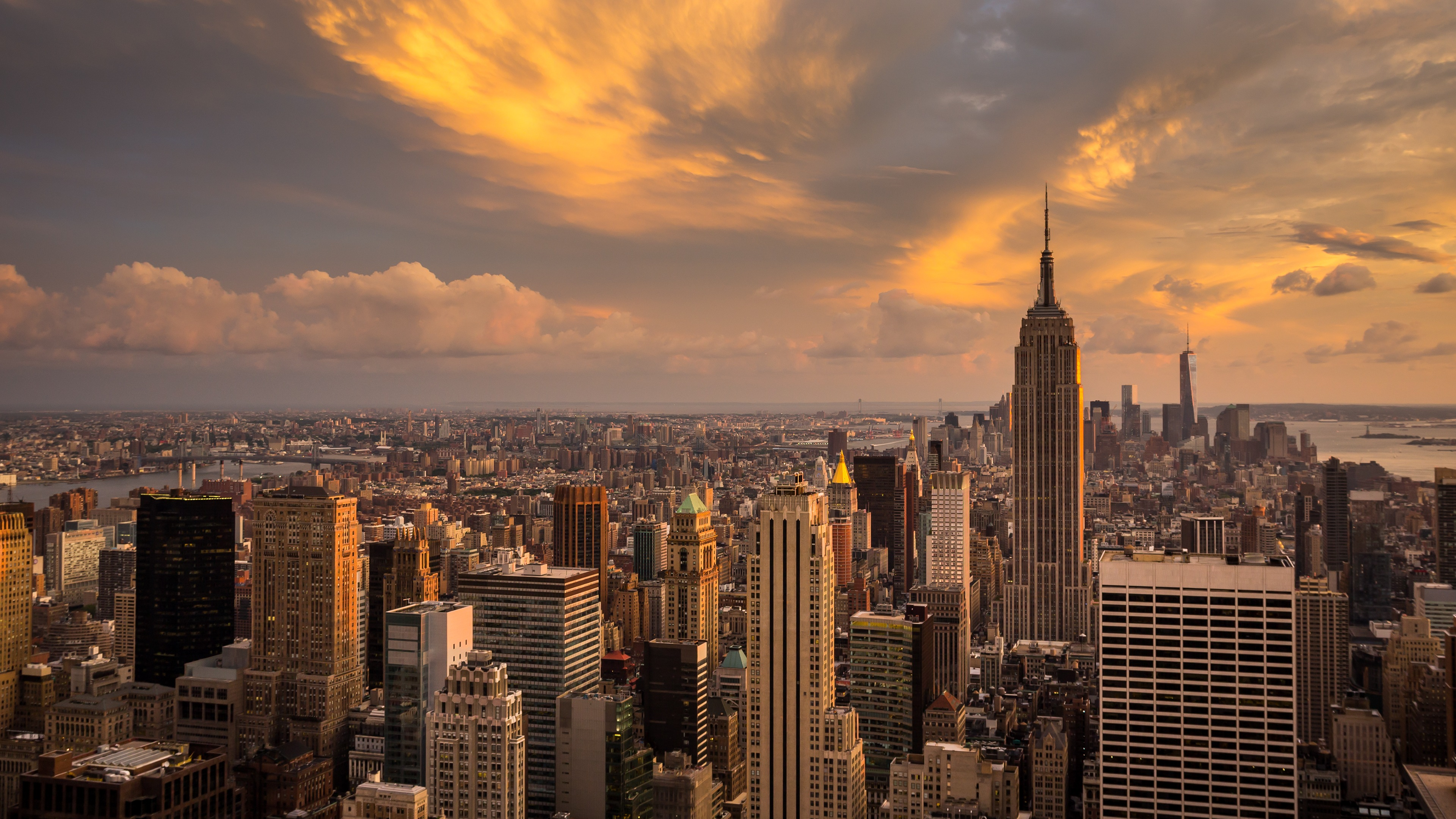 New York City Manhattan Sunset 4K Ultra HD Desktop 4K Wallpaper