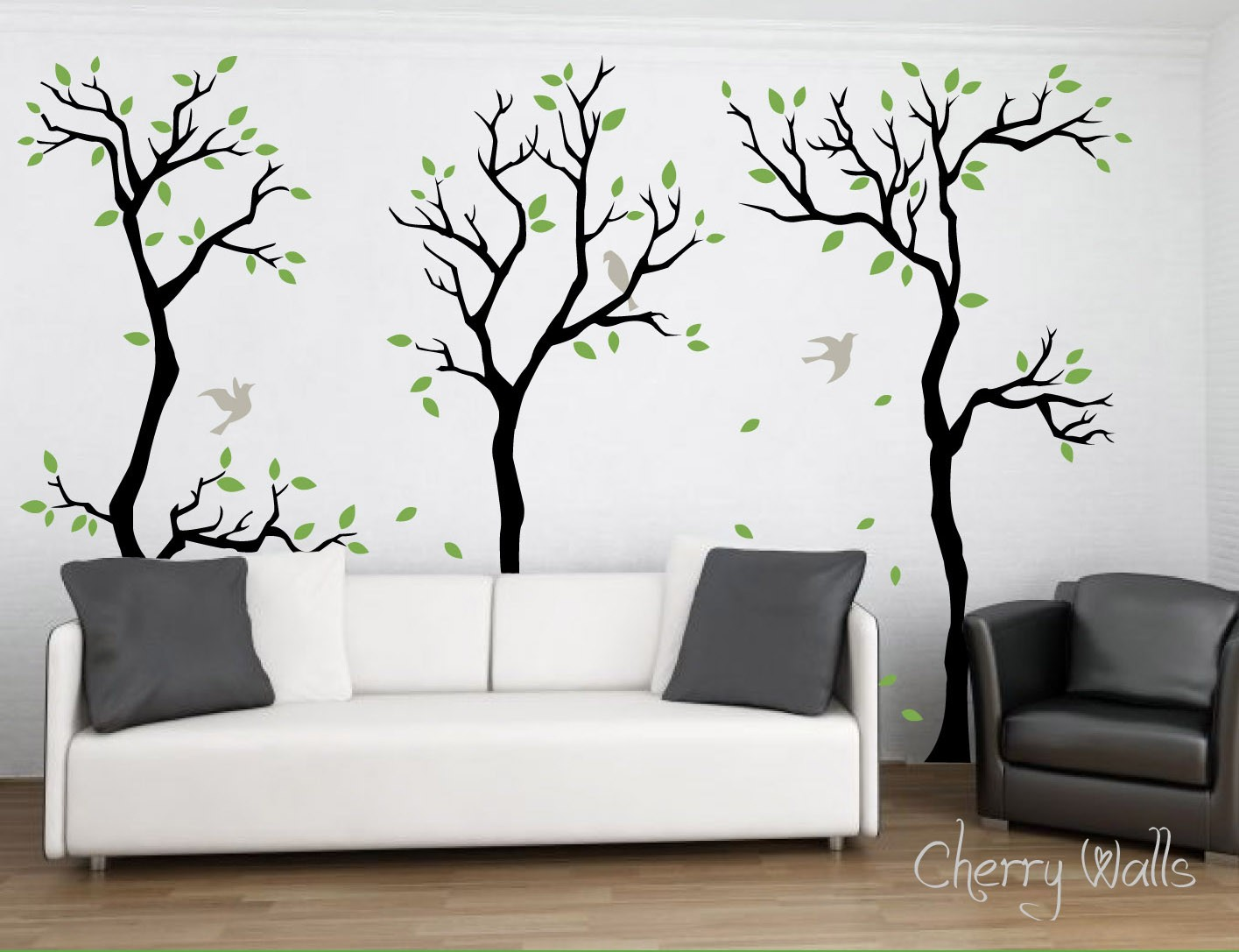 forest wall decal wall decor removable matte vinyl wall stickers 3. Black Bedroom Furniture Sets. Home Design Ideas