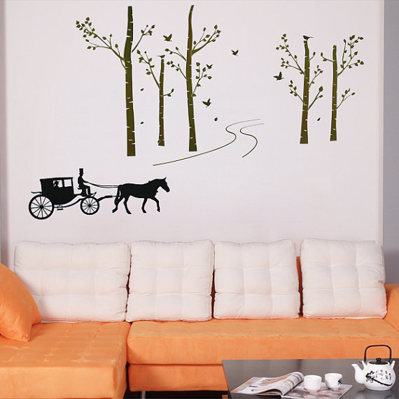 Retro-Carriage-Running-in-the-Birch-Forest-wall-sticker