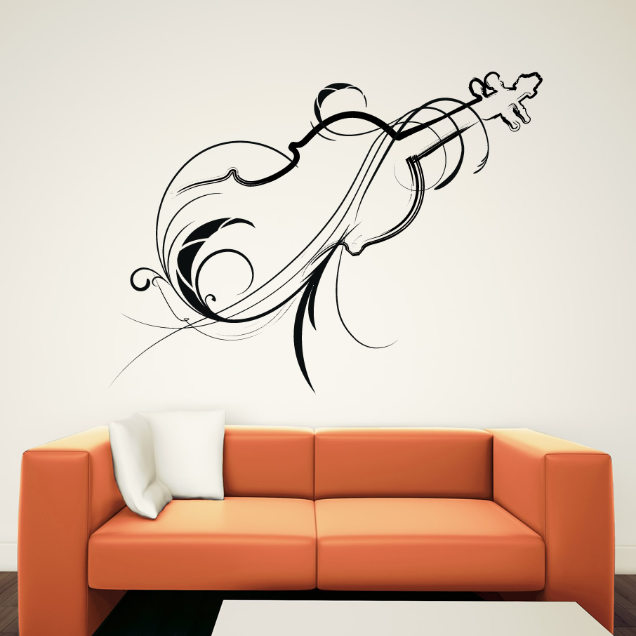 Decorative Wall Paper Art Sticker : Decorative violin wall art sticker hd wallpapers