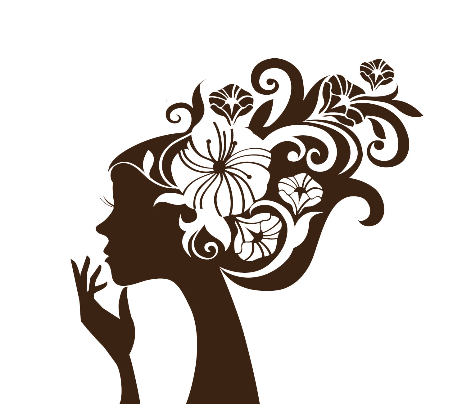 Beautiful woman silhouette with a flowers hd wallpapers for Girls wall art