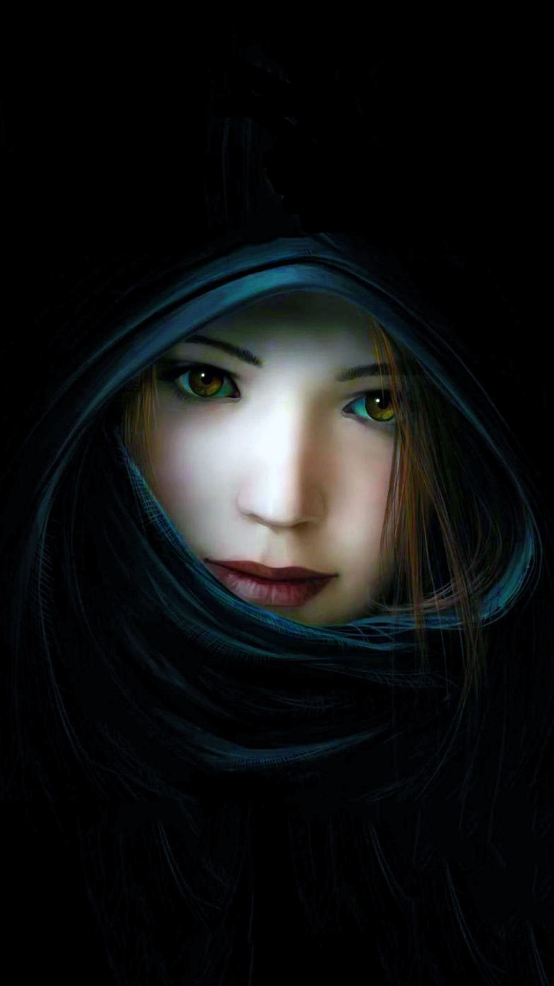 Beautiful 3d Girl with Black Background
