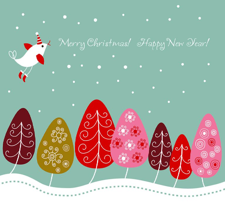 Christmas card with a bird and colorful trees