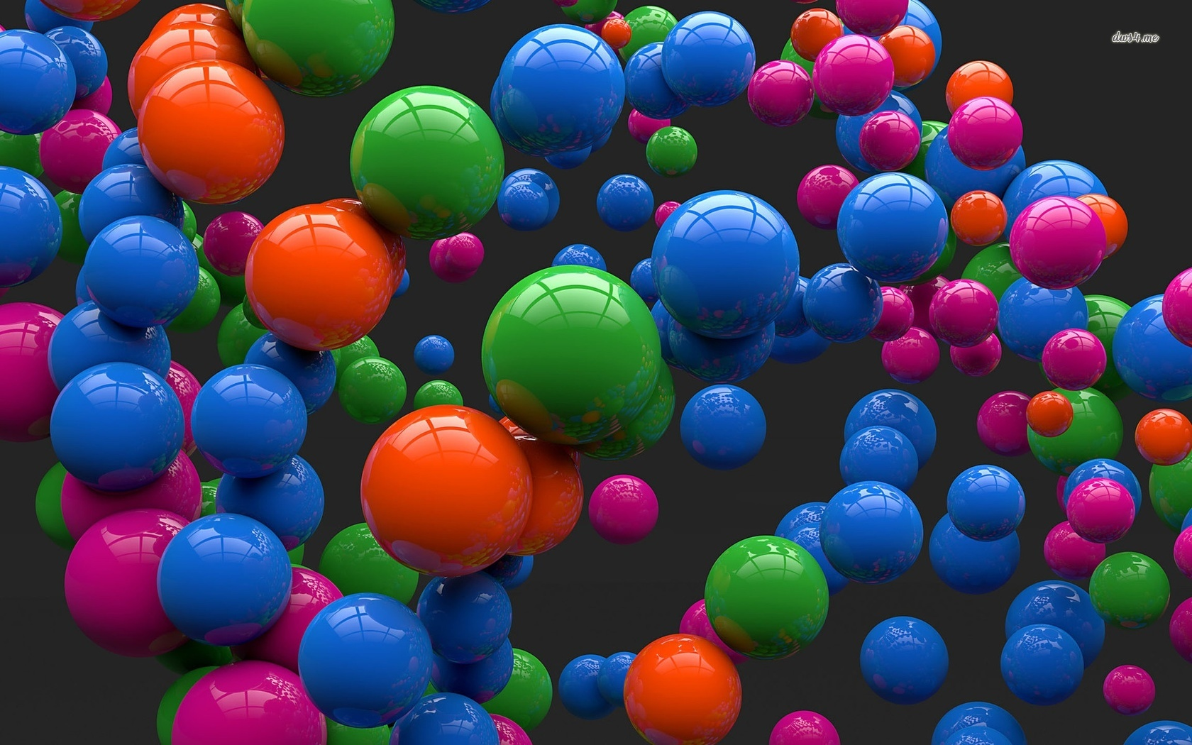 Colorful shiny balls floating wallpaper