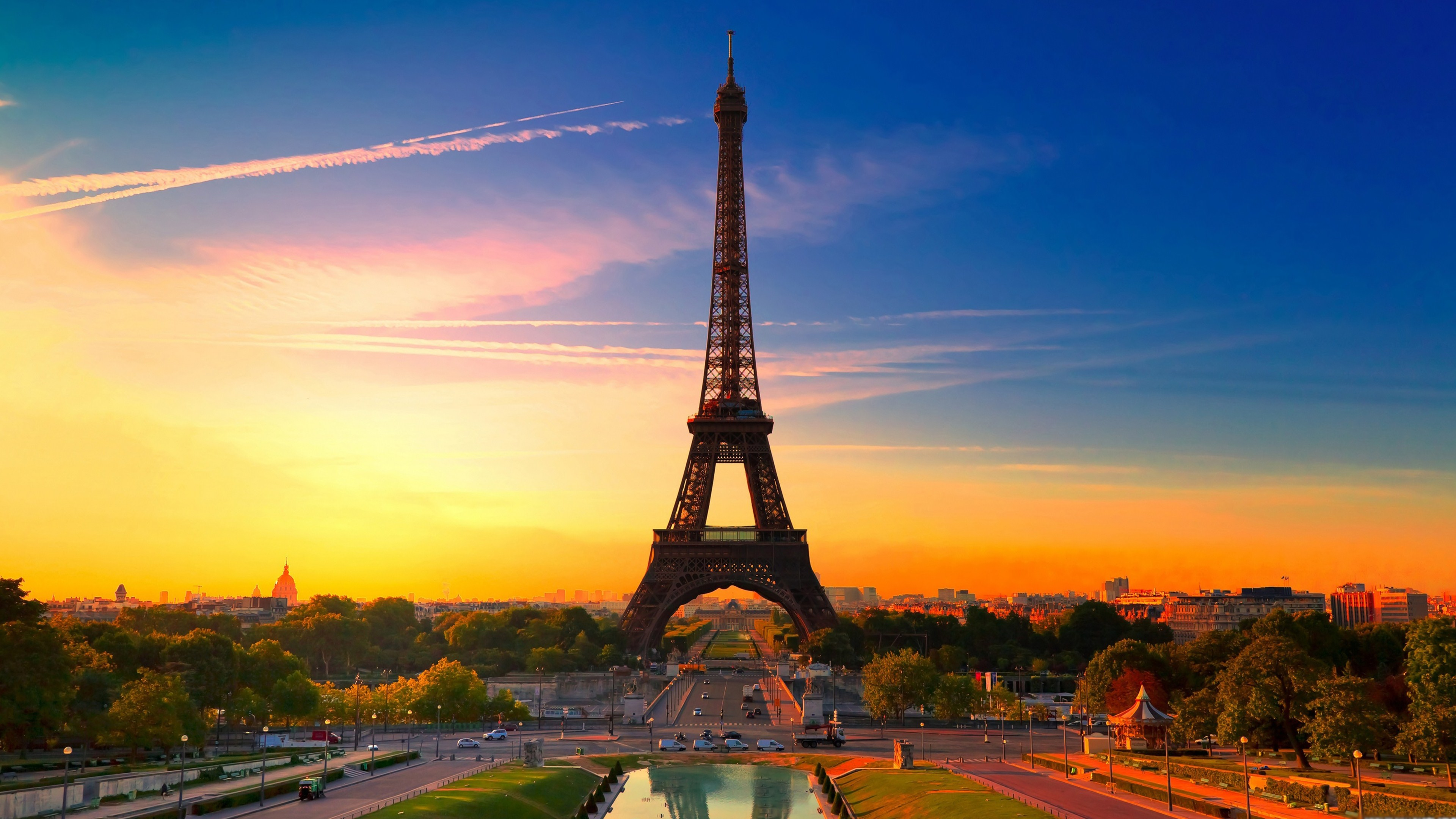 Paris colorful sunset Ultra HD wallpaper