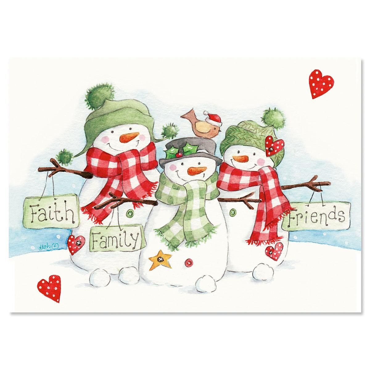 Snowmen Trio Christmas Cards