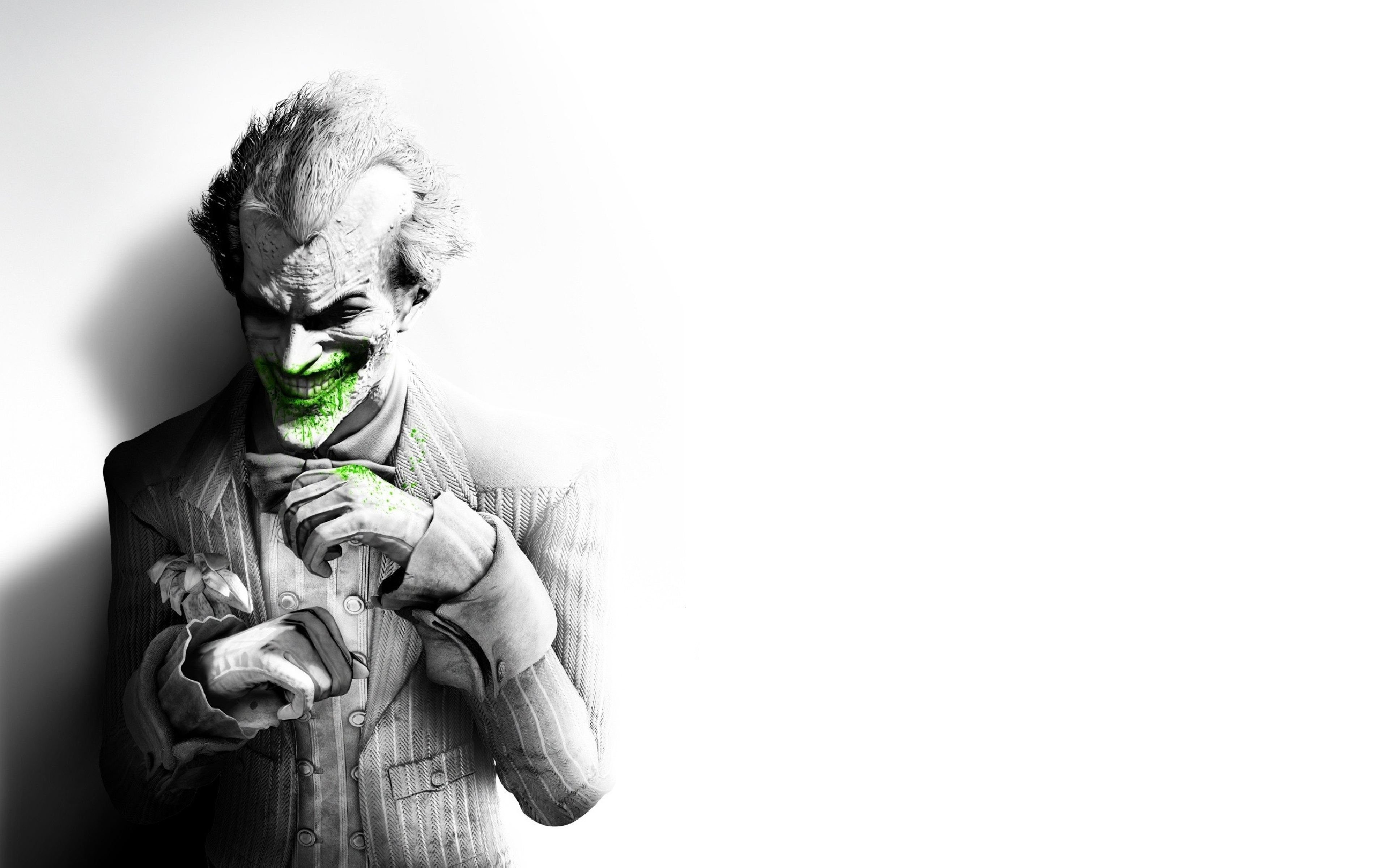 batman arkham city joker smile suit flower fan art black and white