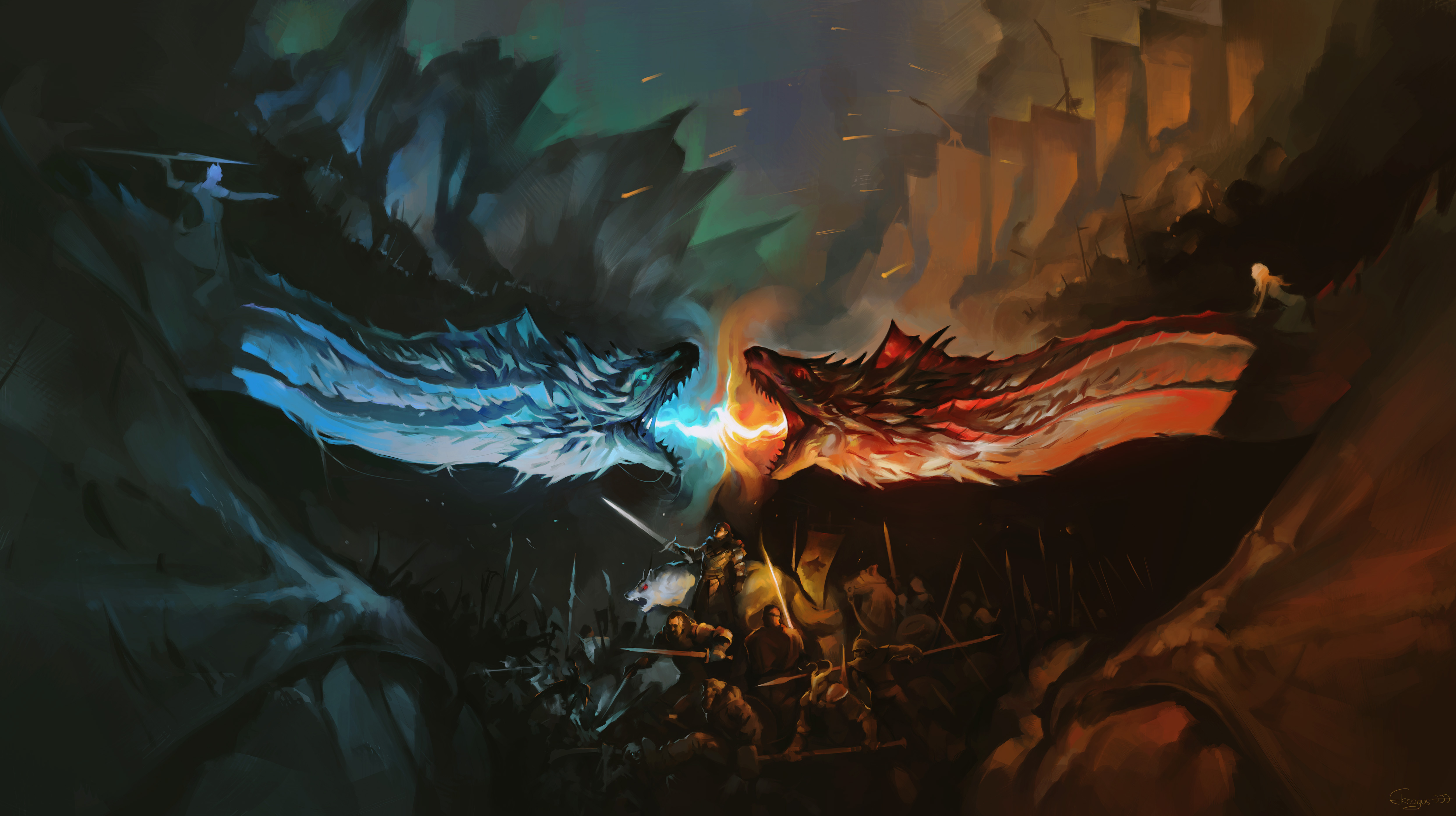 Night King And Khaleesi Fighting With Dragons Artwork Hd