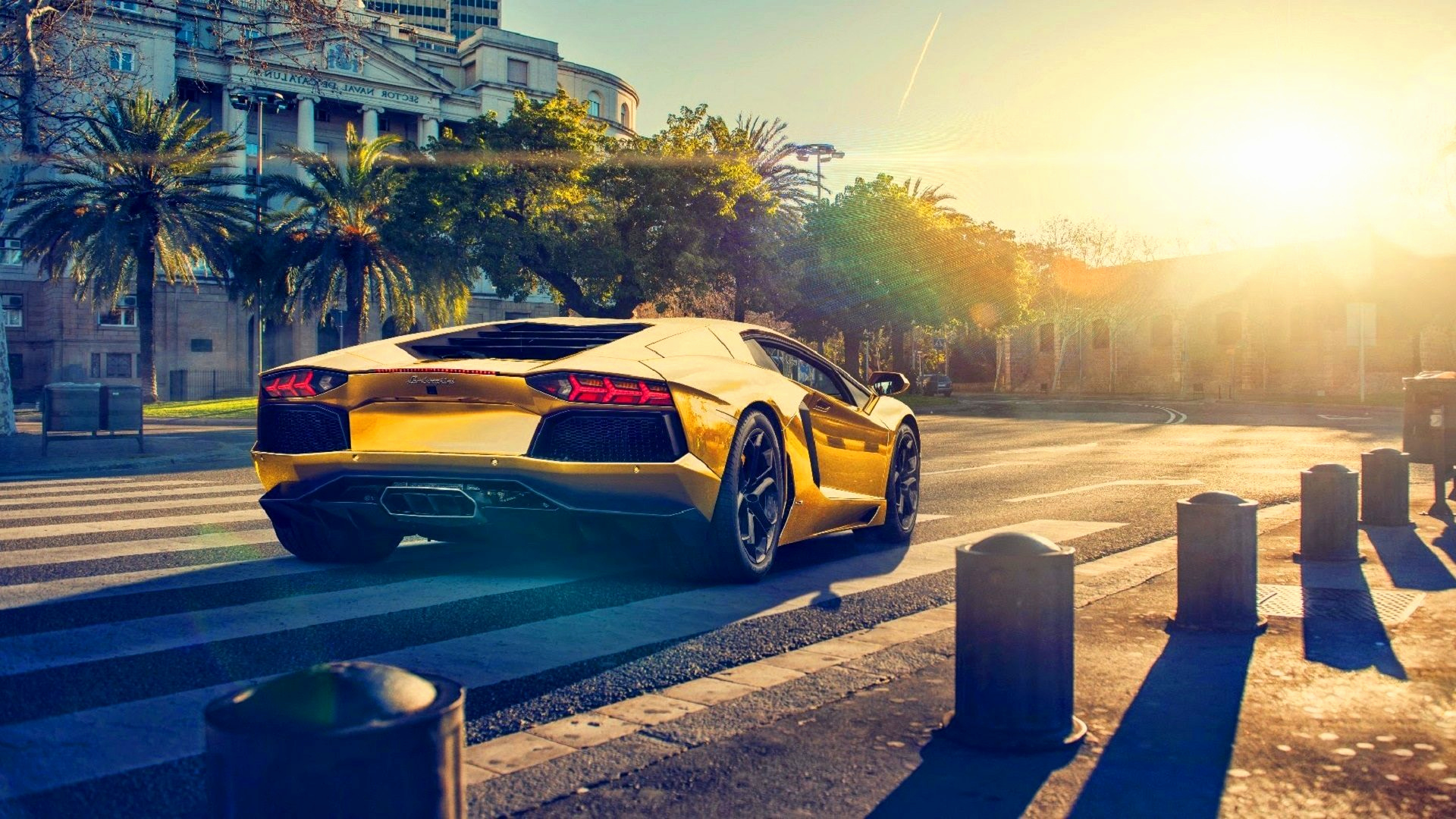 gold car wallpaper Beautiful lamborghini aventador lp700 4 gold color car sunset 4k wallpaper