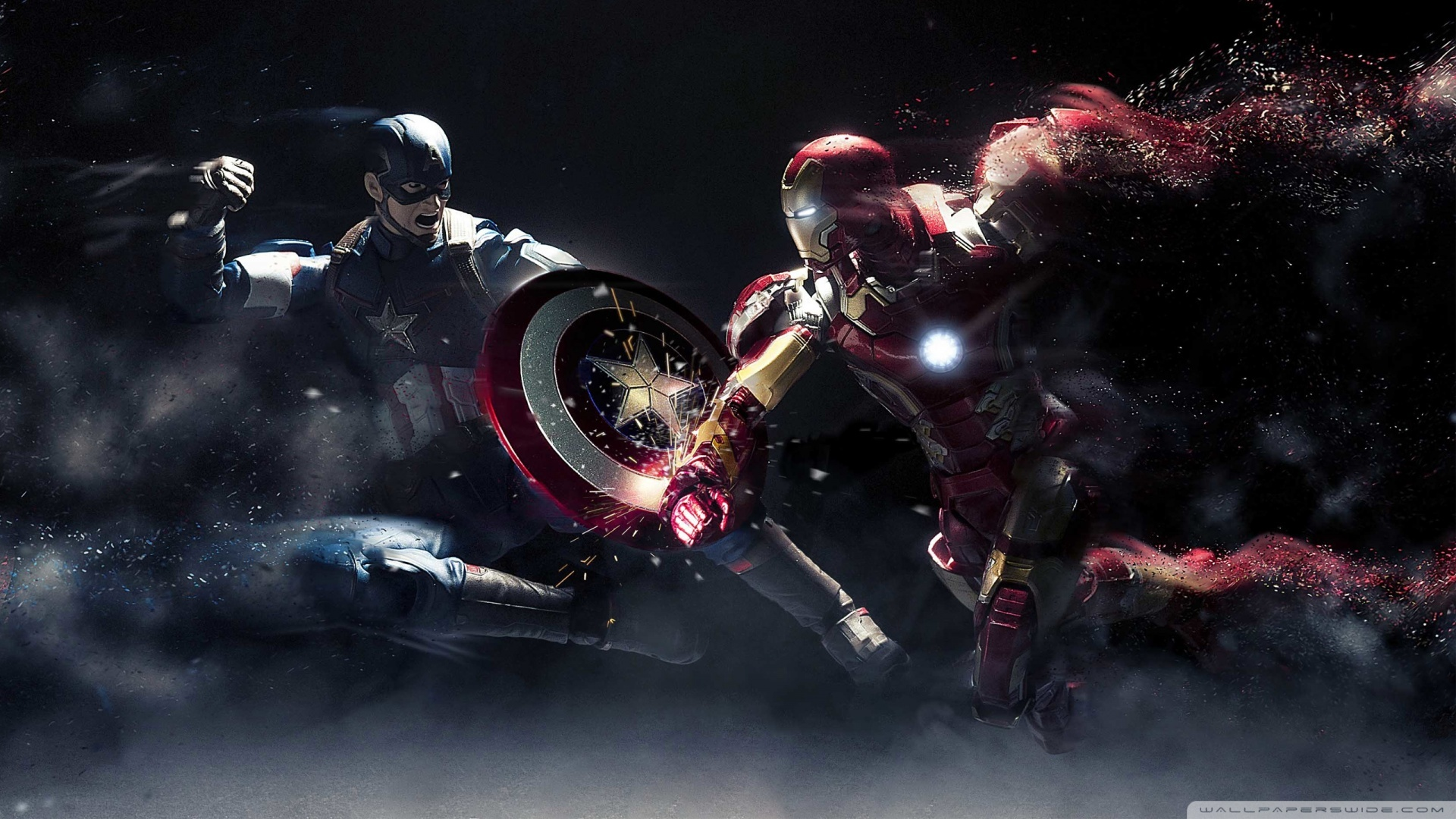 captain america vs iron man 1080p 4k wallpaper
